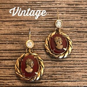 Vintage Wire Earrings with Faux Cameo Drops